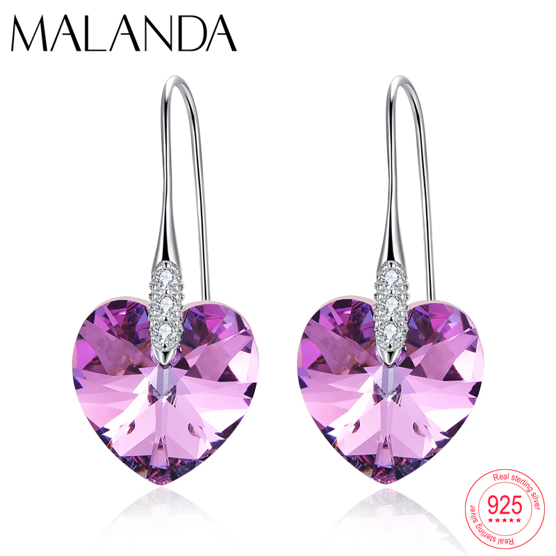 XILION Heart Crystals From Swarovski Drop Earrings Fashion Sterling Silver Piercing Dangle Earrings For Women Jewelry Lover Gift