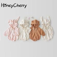 2020 body niemowlęce chłopięce i ubranie dla dziewczyn bawełniane ubrania z długimi rękawami i owinięte fartem ubrania dla niemowląt tanie tanio HoneyCherry COTTON Moda Z kapturem Pełna Pasuje prawda na wymiar weź swój normalny rozmiar Unisex Dla dzieci List