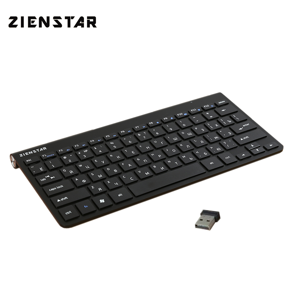 Zienstar Russian English Slim 2.4G Wireless Keyboard Mouse For MACBOOK,LAPTOP,TV BOX, Computer PC ,Smart TV With USB Receiver