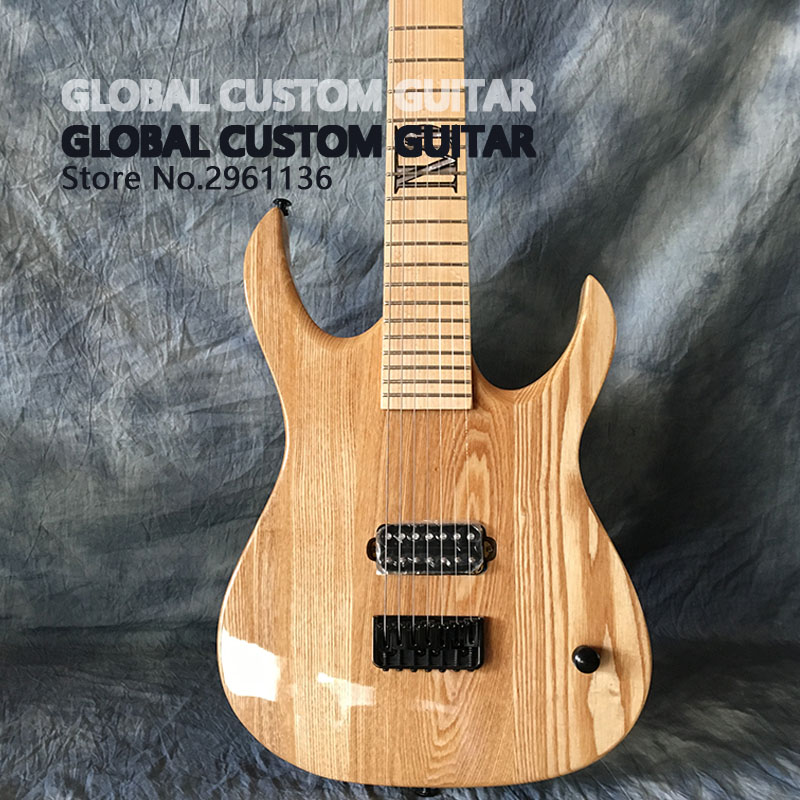 High quality 7 string electric guitar,original wood color white wax wood body and maple guitar neck,Real photos,free shipping! high quality hollow maple body nashville electric guitar with gold bigsby free shipping