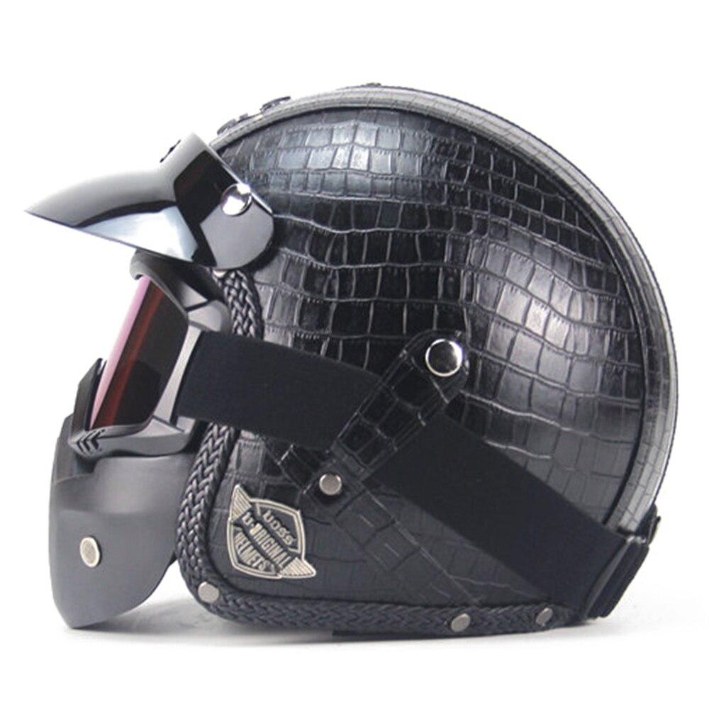 New Retro Vintage Motorcycle Helmet Synthetic Leather 3/4 Open Face Helmet Cafe Racer Cruiser Chopper Casco Moto Helmet DOT