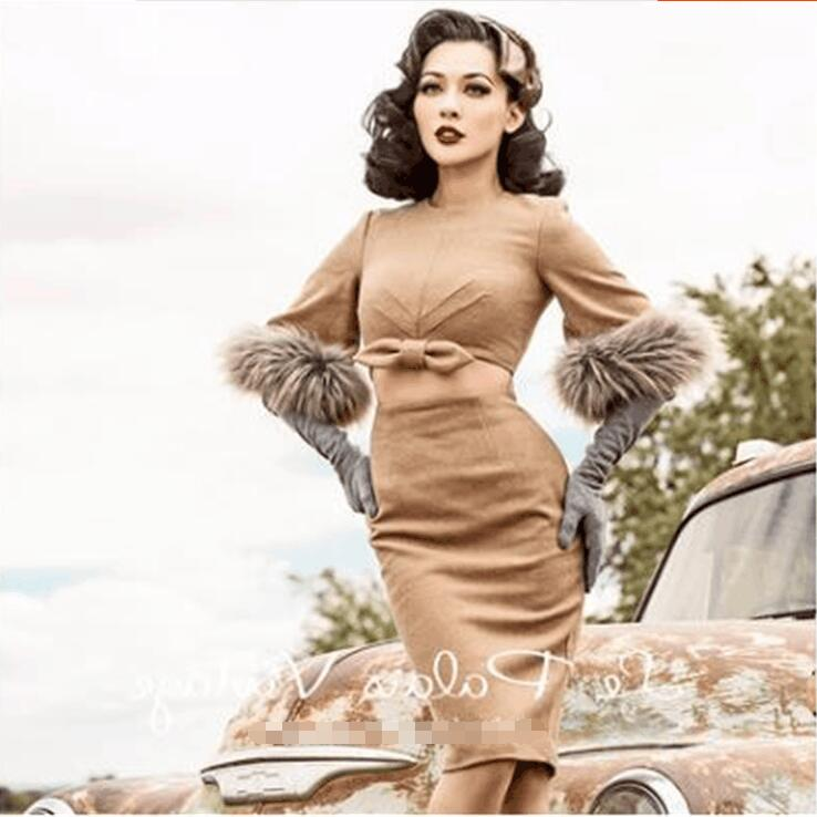 Autumn and winter slim camel hair imitation mane dress retro sexy halter Top female fashion temperament