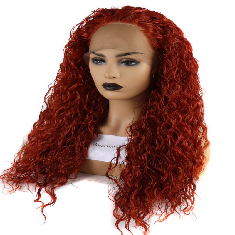 Bombshell Orange Red Bouncy Curly Hand Tied Synthetic Lace Front Wigs Glueless Heat Resistant Fiber For