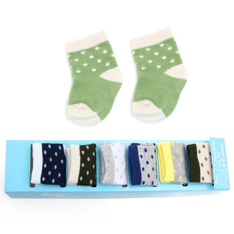7 Days 7 Pairs of Baby Boy Girl Socks Gift Box Set for Newborns 0-6 Months Mixed