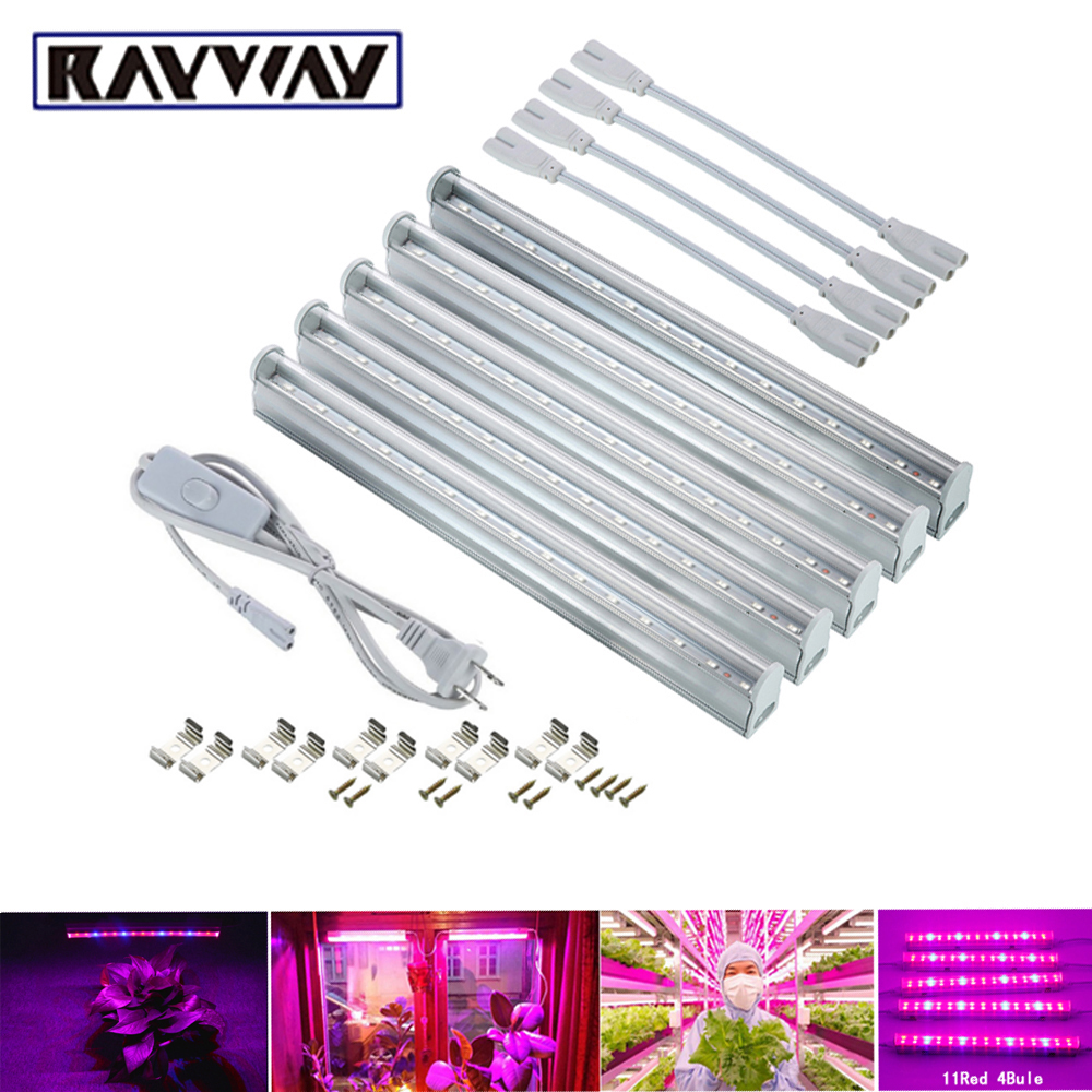 RAYWAY LED Grow Lights Plants Growing lamp Red 660nm Blue 460nm 5730smd Growth Light Tube + Power cable for Greenhouse Garden led grow light lamp for plants agriculture aquarium garden horticulture and hydroponics grow bloom 120w 85 265v high power