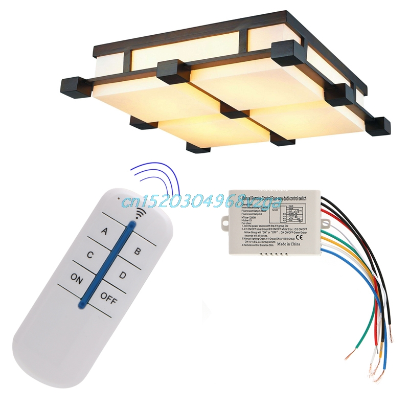 Remote Control Switch Ceiling Fans Chandeliers Ceiling Wireless 4 Channel ON/OFF Lamp Receiver Transmitter New Board Lamp #H028#
