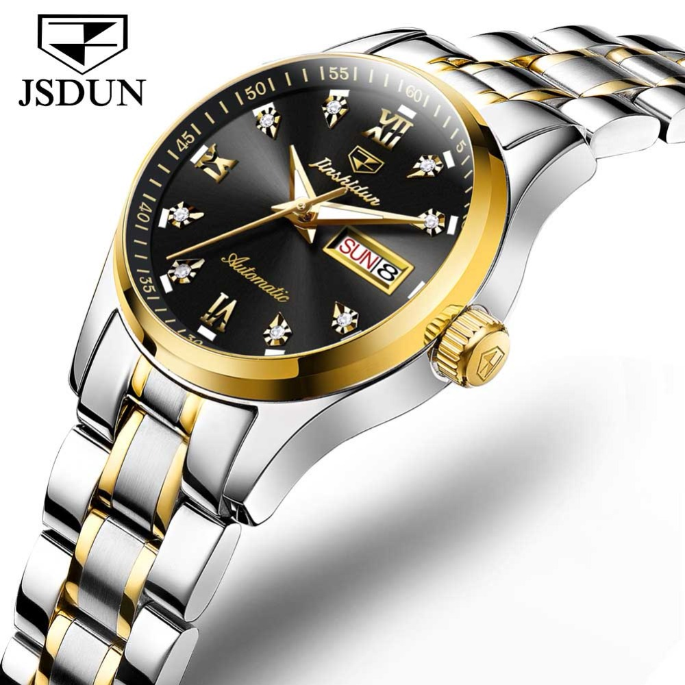 JSDUN Full Automatic Mechanical female Watches Luxury Brand Japanese Movement Wristwatch Stainless steel Women Watch CalendarJSDUN Full Automatic Mechanical female Watches Luxury Brand Japanese Movement Wristwatch Stainless steel Women Watch Calendar