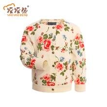 Coton de Bonne Qualité Filles Mode Chandail Enfants Chandail Filles O-cou Fleur Impression Filles Cardigan Chandail Manteau