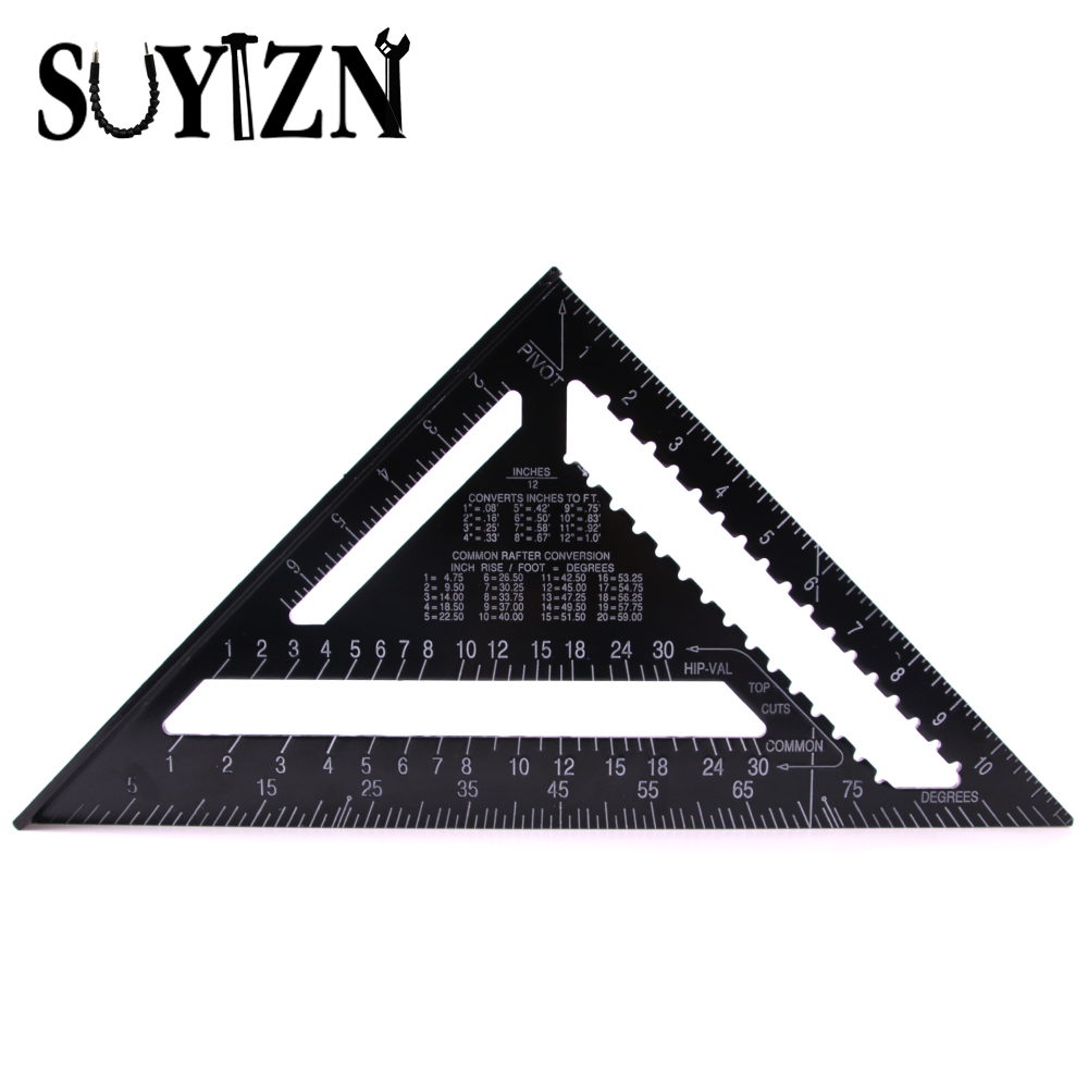 12 Inch Black Triangle Ruler For Woodworking Measuring ...
