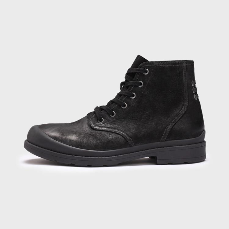 Chaussures Vintage Véritable En Cuir Marque Hommes Chaussure Hiver Style Mode Bottes Casual Homme Northmarch Automne Noir e9WDIEYH2