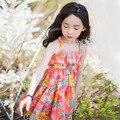 Verão 2016 nova chegada da menina de flor vestido de deslizamento de algodão meninas colorido vestido de verão estilo coreano criança one piece-roupa das crianças
