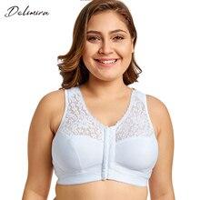Delimira Для женщин застежка спереди, на полную фигуру, без проволоки, с полосками на спине кружевное платье размера плюс бюстгальтер