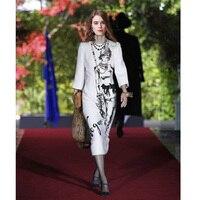 Free Shipping 2018 Spring Fashion Girl Printed Women S Dress White Dress 180108GB01