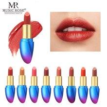 MUSIC ROSE 24-color Matte Lipstick Metal Plated Luxury Gradient Lip Gloss Optional High Pigmented Waterproof Long Lasting Makeup