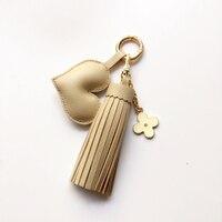 Handmade DIY Tassel Fringe Real Leather Keychain Purse Bag Buckle HandBag Pendant For Car Keyring Holder