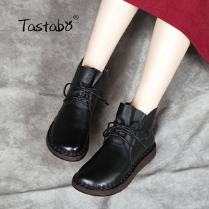 Image 5 - Tastabo Lace up Women Genuine Leather Ankle Shoes Flat with Vintage Lady Shoes Retro Solid Black Ankle Boots for Women