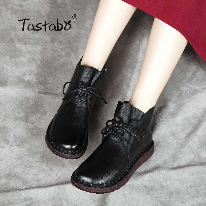 Tastabo dantel-up Kadın Hakiki Deri Ayak Bileği Ayakkabı Düz Vintage Lady Ayakkabı Retro Katı Siyah yarım çizmeler Kadınlar için