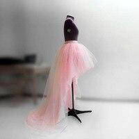 Alto Bajo Novia Se Ruboriza el Rosa de Tul de Cintura Alta Moda Falda Mujeres Falda Larga Personalizado Asimétrico Vestido de Baile Estilo de La Cremallera