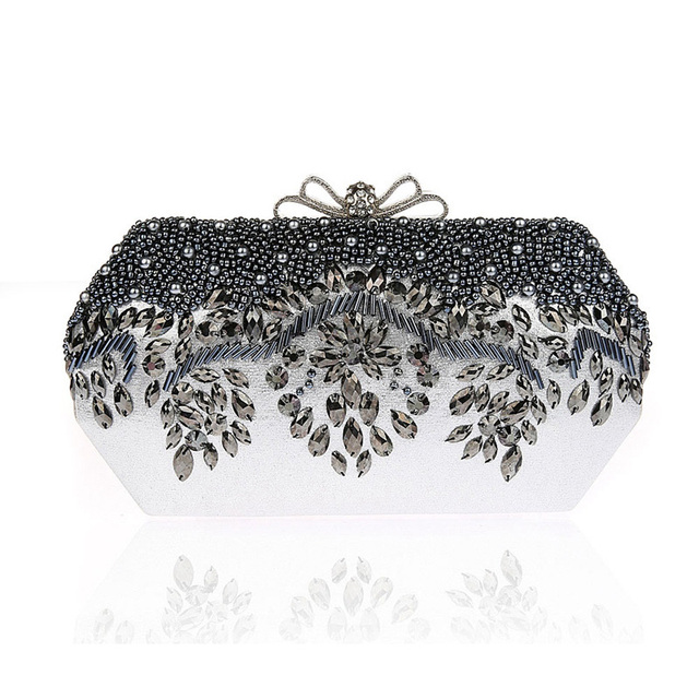 2016 New Fashion Luxury Rhinestone Women Evening Bag Beading Pearl Party Day Clutch Bridal Wedding Purses Bolsos Mujer XA1663C