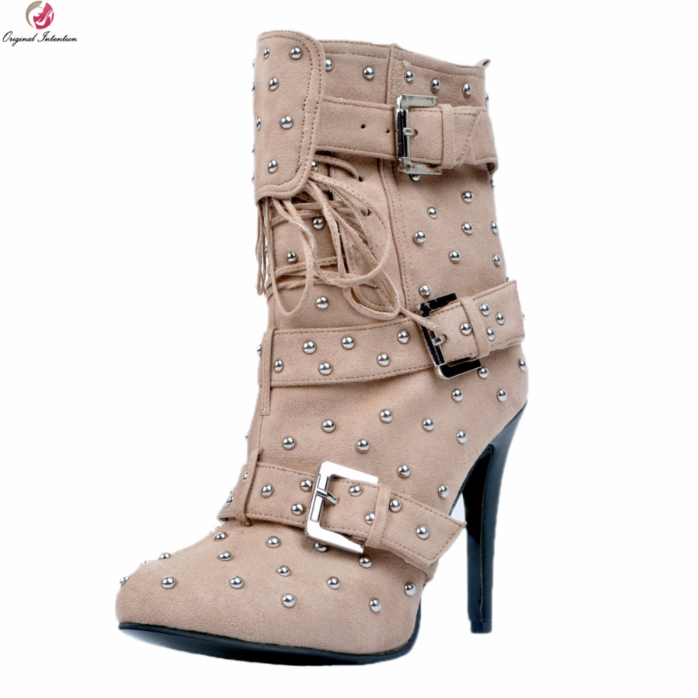 Original Intention New Cool Women Ankle Boots Rivets Nice Round Toe Thin Heels Boots Elegant Khaki Shoes Woman Plus US Size 4-15 original intention women new fashion ankle boots platform round toe spike heels boots nice grey shoes woman plus us size 4 15