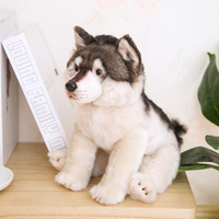 38CM Cute Simulation Wolf Plush Toys Wolf Dog Kids Dolls Lifelike Stuffed Pet Soft Anime Decor Collection Toys For Children Kids