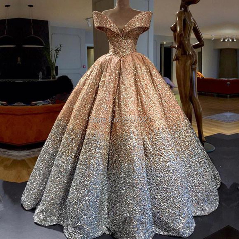 2018 Luxury Sequins Ball Gown Evening Dresses Floor Length Draped Prom Dresses Elegant Off the