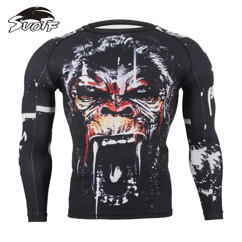 MMA Fitness Tattoo Monkey Pattern Thai Boxing Sports Sweater Long Sleeve Boxing Jerseys Tiger Muay Thai Jerseys MMA