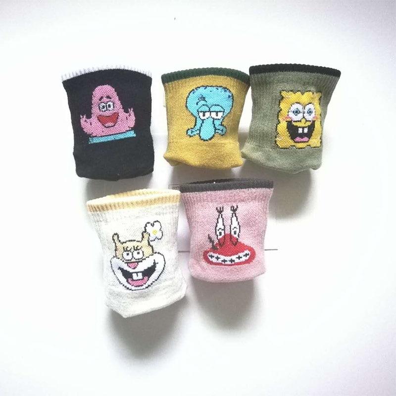 chaussures ete femme 2019 Cotton SpongeBob Women Socks Ankle Cute Pink Kawaii Funny Harajuku Animals Pattern Casual happy socks in Socks from Underwear Sleepwears