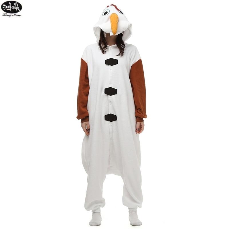 Polar Fleece Cartoon Snow Po Olaf Animal Couple Pajamas Winter Unisex Adult Men Women Pajama Sets Christmas Party Cospaly Pyjama