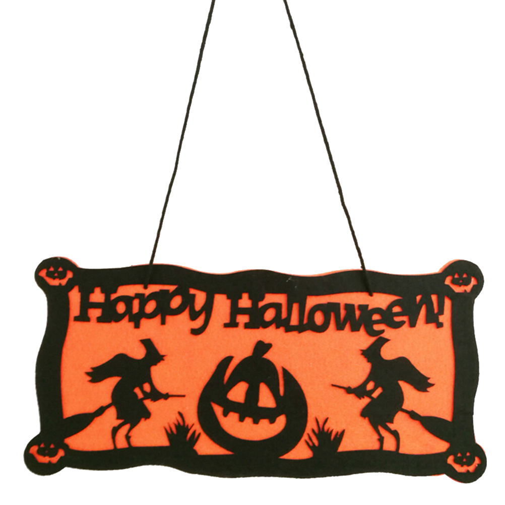 Happy Halloween Tag Sign Felt Pumpkin And Witch Pendant