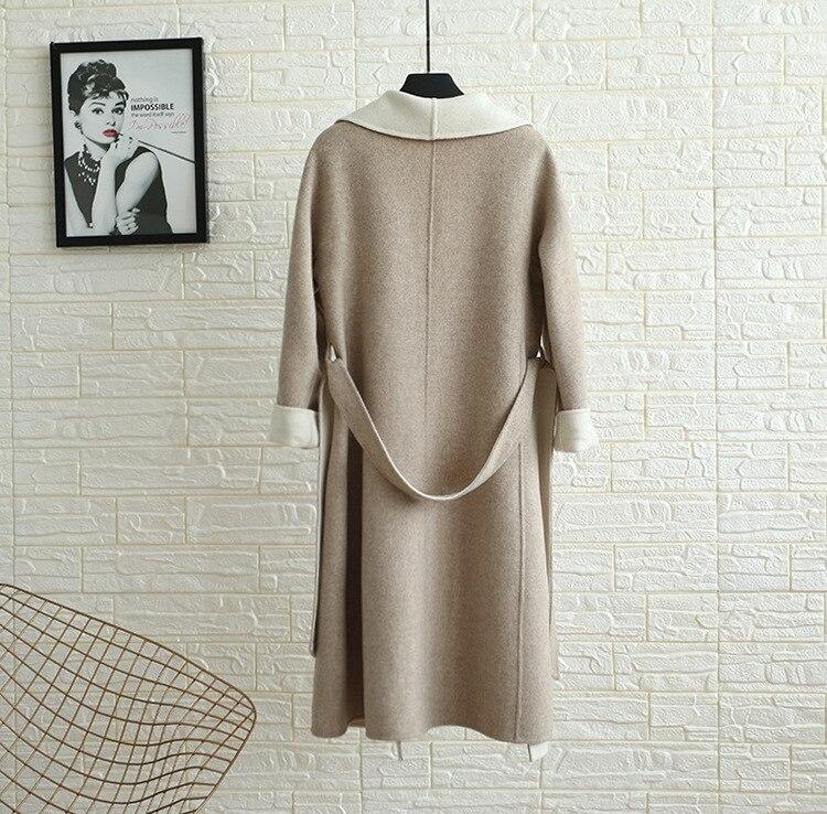 Pardessus Sr318 2 Outwear Manteau Double Face 100 Long Femmes Véritable Laine Naturel Femelle Pur x7OzH7vwq