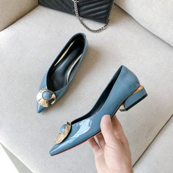 GPOKHDS 2019 women Pumps soft Cow leather autumn spring slip on Metal decoration blue color pointed toe high heels pumps