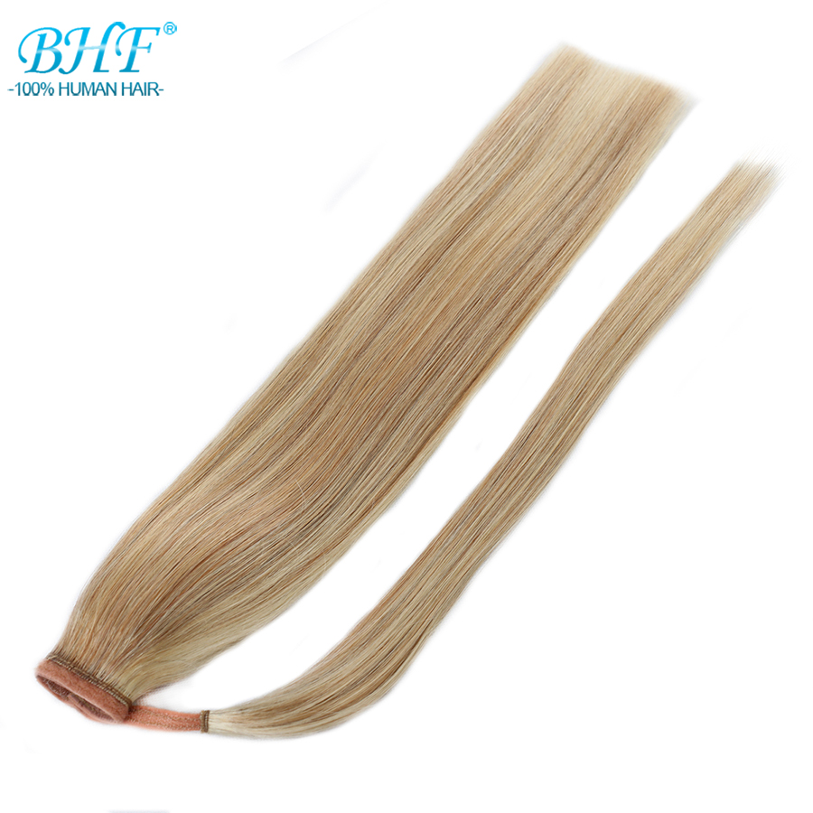 Ponytails Bhf Human Ponytail Hair Straight Russian Remy Pony Tail Extension 2# Dark Brown 613# Blonde 120g 24inch Clip In Wig Hair Extensions & Wigs