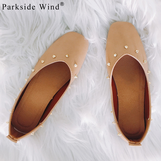 Parkside Wind PU Leather Women Flats Shoes Fashion Rivets Ballet Shoes Slip-on Round Toe Spring&Autumn Loafers XWA0718-5 spring shoes women genuine leather shoes fashion casual loafers fringe slip on round toe solid ballet flats espadrilles women