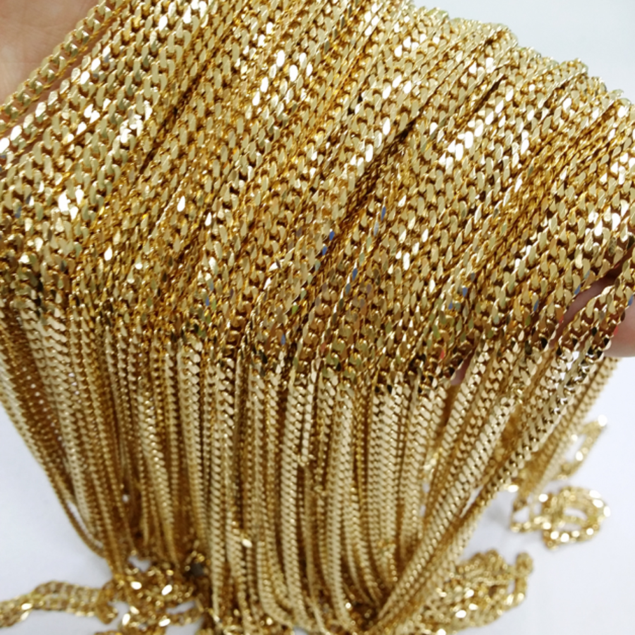 10meters 4mm 5mm Wholease in Bulk Gold Stainless Steel Curb Chain for making Necklace High Quality