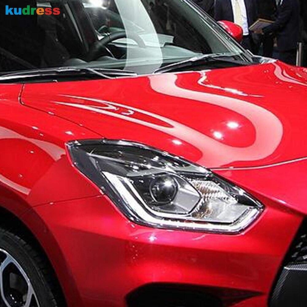 For Suzuki Swift dzire 2017 2019 ABS Chrome Front Headlight Lamp Cover Frame Trim Bezel Headlamp Decoration Car Accessories 2pcs