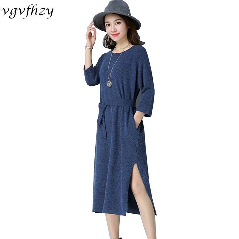 Winter Women Knitted Dresses 2017 Korea Pure Color Long Sleeve O neck Casual Slim Warm Maxi