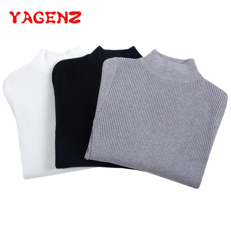 YAGENZ Knitted Sweater Ladies Jumpers Half-High-Collar Pullovers Women Long-Sleeve Fashion