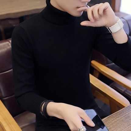 2019 herbst Winter Neue Männer der Rollkragen Pullover Einfarbig Gestrickte Pullover Pullover Männlichen Casual High Neck strickwaren M-3XL