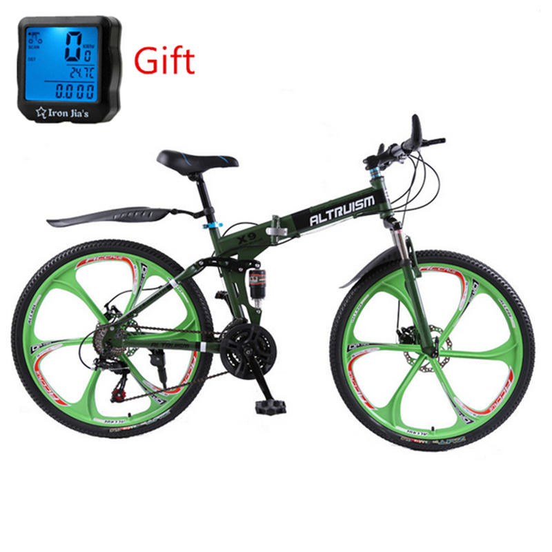 Altruism X9 26 inch Bicycle Steel 24 Speed Folding Mountain Bike Double Disc Brakes Variable Speed Bisiklet Racing Bicicleta