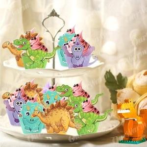 Image 4 - OurWarm 12 Adet Karikatür Dinozor Cupcake Sarıcı Doğum Günü Partisi Süslemeleri Çocuklar Iyilik DIY Dino Bebek Duş Tatlı masa süsü