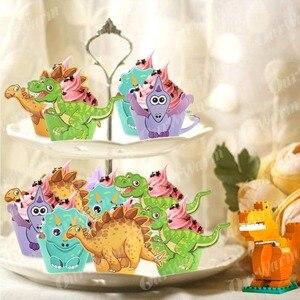 Image 4 - OurWarm, 12 Uds., envoltorio de dibujos de dinosaurio para cupcakes, decoraciones para fiesta de cumpleaños, recuerdo para niños, Decoración de mesa DIY de Dino Baby Shower, postre