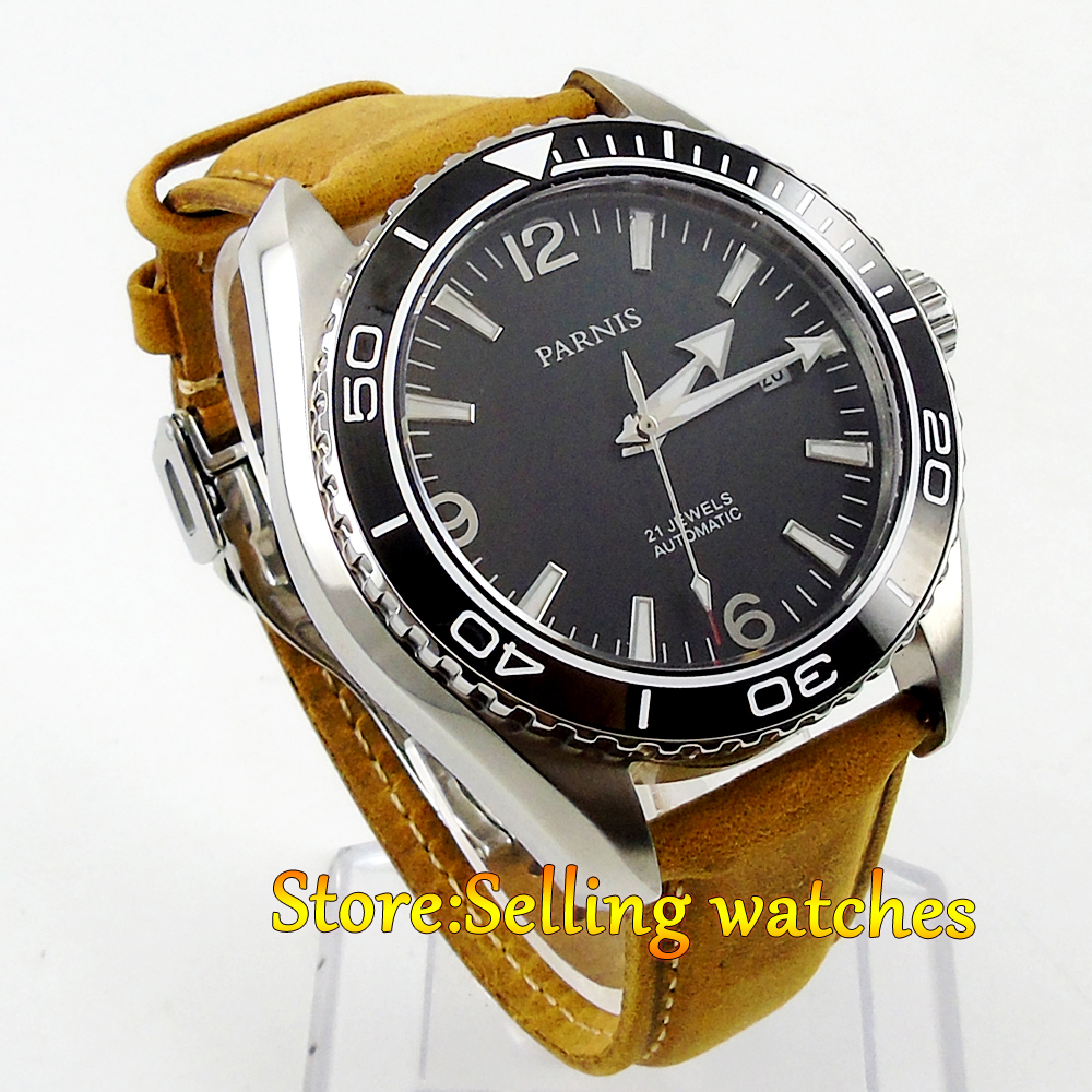 45mm Parnis black dial Ceramic Bezel 21 jewels miyota Automatic mens Watch  41mm corgeut black dial red bezel 21 jewels miyota automatic diving mens watch