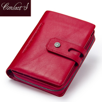 Contact S Short Wallets Genuine Leather Women Wallet New Fashion Coin Purse Zipper Hasp Design Brand