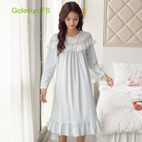 New Arrival Women Royal Princess Hollow Lace Autumn Cotton Nightgown Sleep Wear Gowns Lady Leisure retro Night Wear C8005