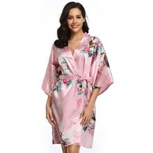 Bridesmaid Robes Half Sleeve Silk For Women Satin Bathrobe With Belt Short Knee-Length Floral Kimono Feminino R80743