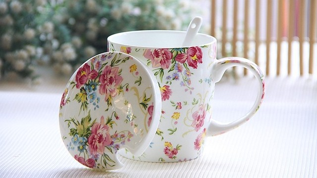 370ml Cute Fl Rose Bone China Cup With Lid Spoon Yellow Leaf Coffee Thermos