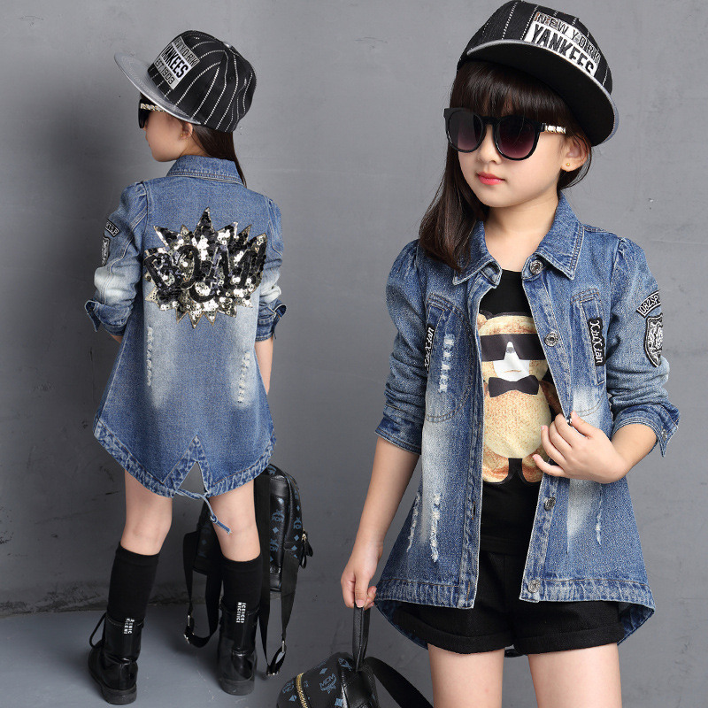 6d7ef96abde4 Children Denim Jacket Girls Coats Spring Autumn Trench Jacket Long Sleeve  Diamond Girls Denim Jean Coat Kids Clothing TZ104