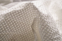 ivory cotton fabric with embroidered 3D checks, cof021