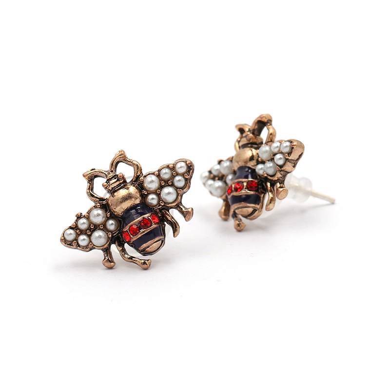JURAN 2018 new arrival Bee crystal earrings party jewelry accessories cute pearl statement insect stud earrings for women